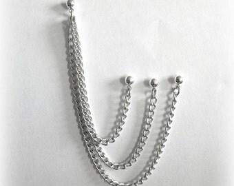 Triple Chain, Triple Piercing Cartilage Chain Earring