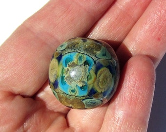 Handmade  Lampwork Glass Round Focal silver-fumed ivory and aquamarine