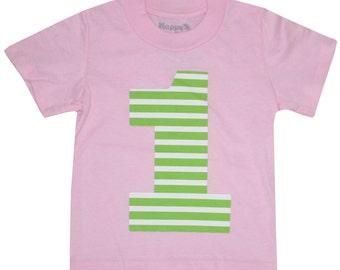 Kids LIME STRIPES First Birthday T-shirt - Light Pink