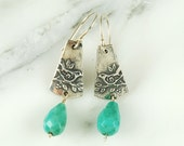 Sparrow Earrings - Sterling Silver Earrings with Moss Agate Drops and Hypoallergenic Wires