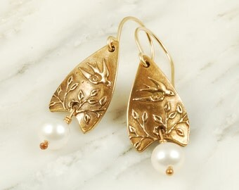 Swallow Earrings - Bronze Bird Earrings with White Pearls and Gold Fill Wires