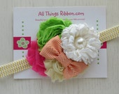 Pink Green  and yellow shabby flower headband All Things Ribbon