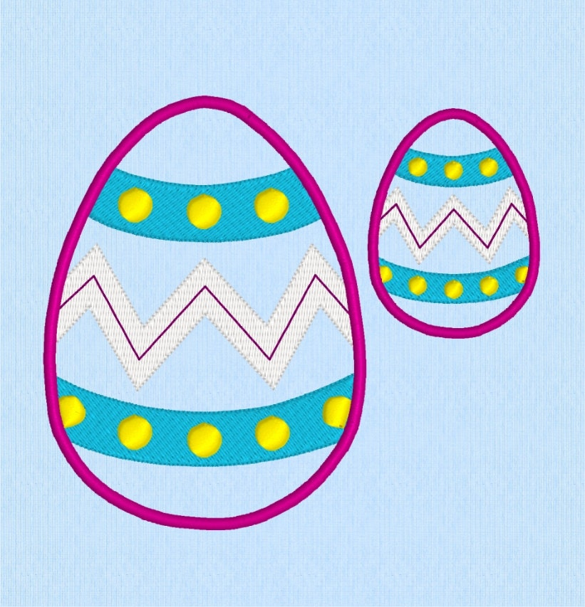 Easter egg applique machine embroidery design in two sizes