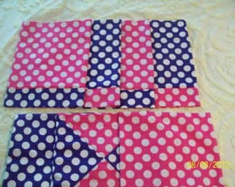 4 Pink & Purple Polka Dot Valances, 3 matching Pillow Shams, OOAK