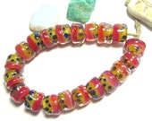 Handmade Lampwork boro Beads, Spanky's Design, Organic Rolos in Magenta Lemon