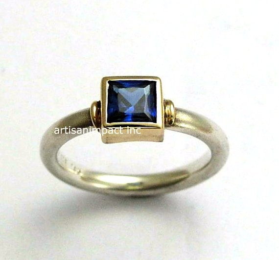 Blue Sapphire ring, Silver ring, silver yellow gold ring, blue sapphire corundum, square stone ring, engagement ring - Deep ocean. R0956