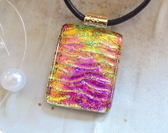 Dichroic Pendant, Necklace, Glass Jewelry, Pink, Gold, Aqua, Necklace Included