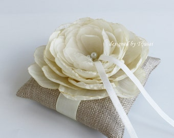 Reserved-Burlap ring pillow with champange flower ---wedding ring pillow , wedding pillow, ring bearer, ready to shipp