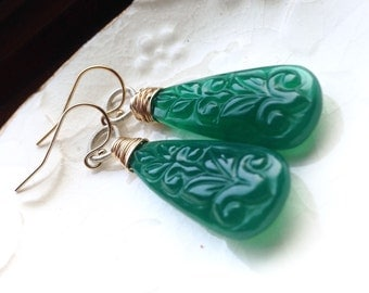 Carved Green Onyx Wire Wrapped 14k Gold Filled Sterling Silver Mixed Metal Dangle Earrings - SALE