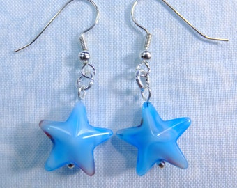 Sky Blue Glass Stars with Red and White Streaks Dangle Earrings