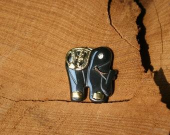 1970s, Hematite Elephant, Elephant Pendant, Hematite Pendant, Animal Jewelry, Crystal-eyed Pendant, Gold-plated Pendant