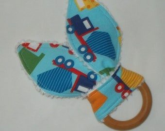 Blue Ready, Set, Go Cars Rabbit Ears Wooden Teething Ring