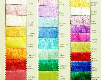 Tissue Lame fabric color chart..1 yard choice of color.. 44 inches..crafts, costume, decor, doll clothing,
