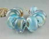 Jet Trails,8 Handmade Lampwork Glass Beads,lampwork bead set,jewelry supplies,lampwork spacer bead,artist lampwork