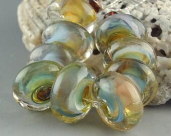 Lampwork Glass Beads, Handmade lampwork bead set, jewelry supplies, lampwork spacer bead, artist lampwork, Country Road