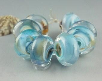 Lampwork Glass Beads, Handmade lampwork bead set, jewelry supplies, lampwork beads, lampwork spacer beads, artist lampwork, Jet Trails