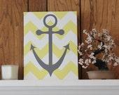 Anchor Print/Canvas Wall Art/Beach Print/ Nautical Wall Decor/Yellow and Gray/ Chevron Canvas Print/Nautical Bathroom