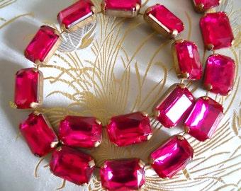 Sale! Vintage Lucite Chain Magenta Pink  Brass Chain