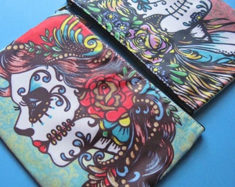 Day of the Dead Bag Purse Clutch Cosmetic Pouch Accessory Case - ROSE Red and SNOW White
