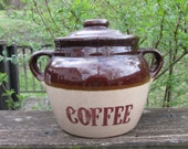Vintage Coffee Crock/ Canister - Monmouth Pottery - Oatmeal and Dark Brown