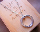 5th Anniversary Gift Five Lightly Hammered Entwined Silver Rings Necklace in Personalized Wood Jewelry Gift Box MADE TO ORDER