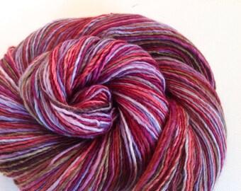 Handspun singles yarn 4ozs 382 yards sport/sock weight polwarth silk