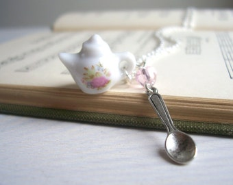 Rose Teapot charm necklace - ceramic teapot and little spoon charm in silver - tea party