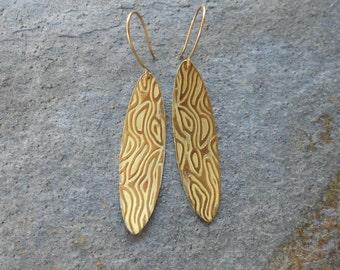 Long Textured Bronze Earrings