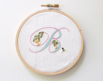 Custom initial embroidery hoop, nursery wall art, embroidered initial, ring pillow alternative, housewarming gift