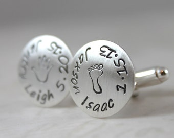 Father's Day, Custom Cufflinks, Personalized Cufflinks, Engraved Cufflinks, Solid Sterling Silver, Custom hand stamped