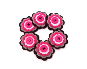 Felt Flower Embellishments for Scrapbooking and Card Making, Black, Gray, White and Hot Pink with Hot Pink Button Center, Set of 6