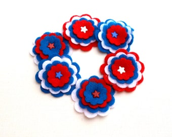 Felt Flowers Red White Blue Stars Felt Scrapbooking Card Making Embellishments