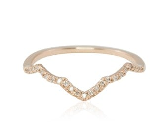 Rose Gold Wedding Band, Diamond and Rose Gold Pointed Contour Wedding Band - LS4308