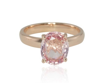 Sapphire Ring, Padparadscha Sapphire Engagement Ring - Oval Cut Padparadscha Pink Sapphire Solitaire Ring in Plain Rose Gold - LS4255