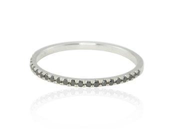 Diamond Ring, Ultra Thin Black Diamond and White Gold Wedding Band - LS4314