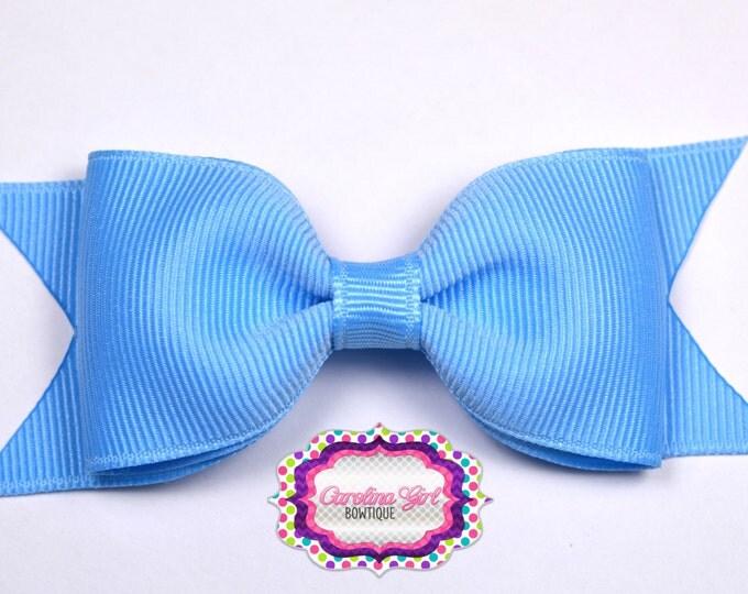 "Blue Tuxedo Bow ~ 3.5"" Hairbow ~ Small Hair Bow ~ Girls Barrette ~ Toddler Bow ~ Baby Hair Bow ~ Hair Clip ~ Girls Hair Bow"