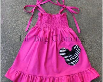 Custom Boutique Clothing Minnie Mouse Smocked Pink Zebra Dress
