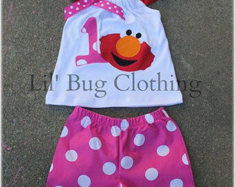 Elmo Polka Dot Hot Pink and Red Short and Halter Personalized Top Spring Summer  Set Birthday Girl Bow