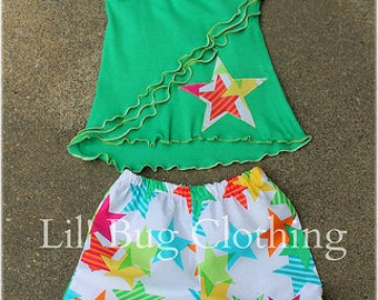 Custom Boutique Clothing Funky Stars Summer Short And Halter Top Outfit