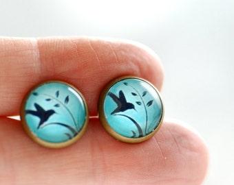 Bird Earrings, Swallow Earrings, Nature Jewelry, Brass Stud Earrings, Turquoise and Black, Paper Jewelry, Post Earrings, Graphic Jewelry