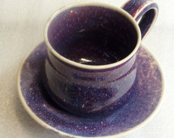 Purple and Blue Wheel Thrown Cup and Saucer with Chattered Texture