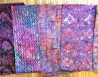 Batik Fabric FIVE One yard Pieces Coordinated Bundle Robert Kaufman