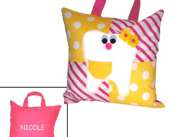 Personalized Girl TOOTH FAIRY PILLOW - Pink & Yellow - (With Tooth Pocket)