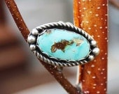 Turquoise OVAL Cabochon Sterling Silver Ring, rustic, artisan, metalwork, handmade, Boho, Bohemian, Gypsy, Cowgirl