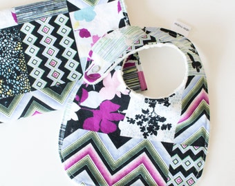 Baby Girl Gift Set Bib and Burp Cloth Modern Age Patchwork Print