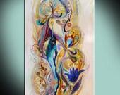 Splash Of Life 4 oriental style canvas print, White background art poster, Judaica Gifts, Wall Art, Home dorm Wall decor, interior design