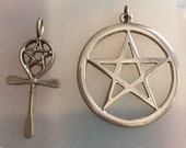 Lot of two large wiccan pagan pentagram themed pendants pentacle ankh goth