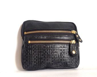 leather wallet in black // basket weave embossed lamb skin
