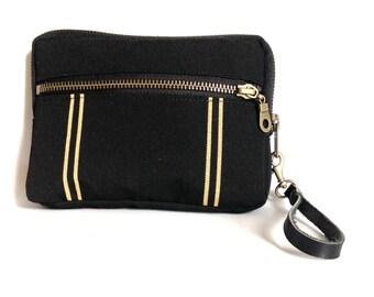 Canvas wristlet wallet in black // tan