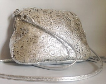 AW13 Leather bag in silver paisley cut leather